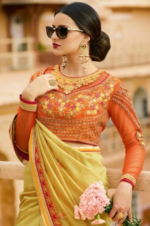 Sensuous Mustard Silk Heavy Embroidery Resham Thread and Badala Zari Work Saree with Blouse