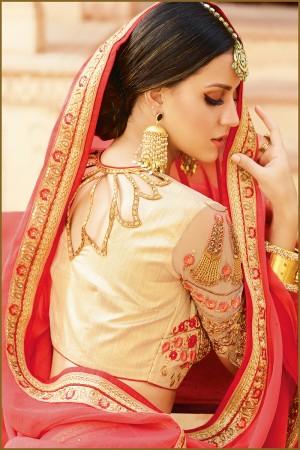 Glamorous Red Silk Heavy Embroidery Resham Thread and Badala Zari Work Saree with Blouse