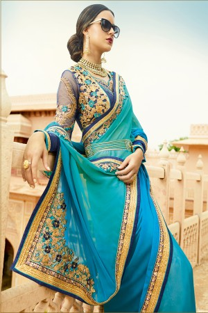 Aesthetic Peacock Blue& Green Silk Heavy Embroidery Resham Thread and Badala Zari Work Saree with Blouse
