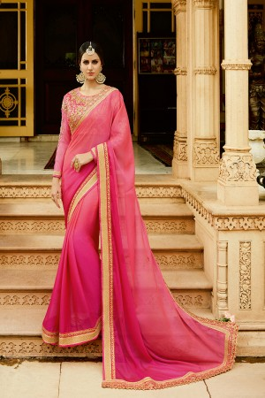 Beauteous RaniPink Silk Heavy Embroidery Resham Thread and Badala Zari Work Saree with Blouse