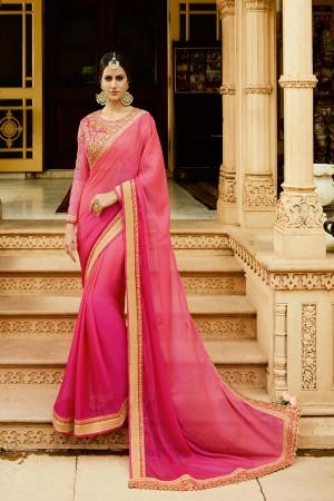 Beauteous RaniPink Silk Heavy Embroidery Resham Thread and Badala Zari Work Saree with Blouse