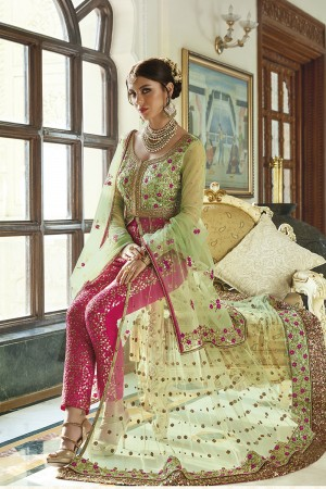 Fabulous Green Net  Heavy Embroidey Zari work with Stone Work Anarkali Suit