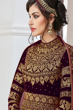 Stunning Maroon Velvet&net Heavy Embroidey Zari work with Stone Work Anarkali Suit