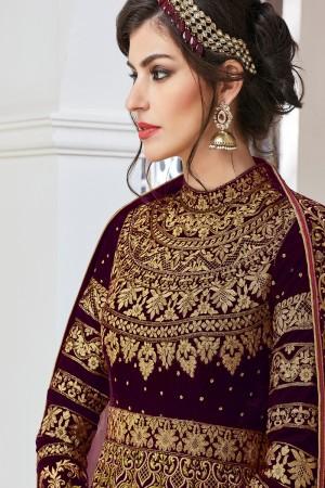 Stunning Maroon Velvet&net Heavy Embroidey Zari work with Stone Work Anarkali Suit