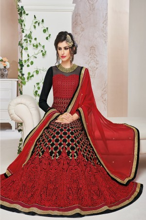 Glitzy Black Georgette Heavy Embroidey Zari and Thread work with Stone Work Anarkali Suit