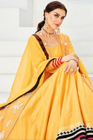 Angellic Yellow Chanderi Plain Chanderi Fabric with Lace Border and Dupatta with sequance Enbroidery Wok Anarkali Suit