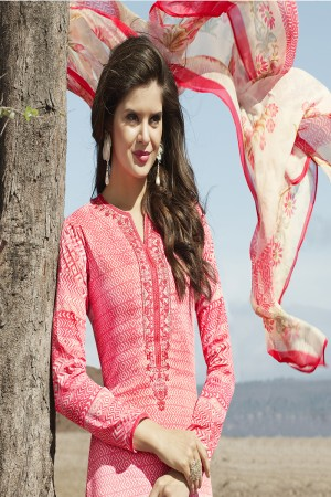 Decent Multicolor Cotton Digital Print Embroidery Dress Marerial