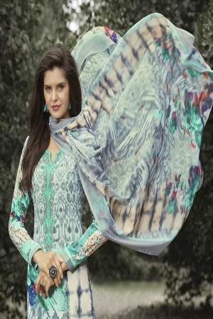Exquisite Multicolor Cotton Digital Print Embroidery Dress Marerial