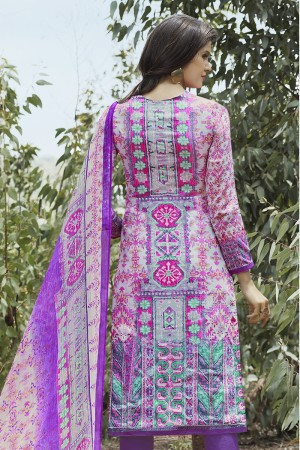 Enticing Multicolor Cotton Digital Print Embroidery Dress Marerial