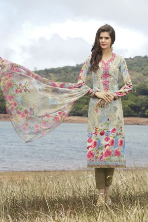 Striking Multicolor Cotton Digital Print Embroidery Dress Marerial