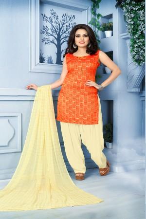 Mind Blowing Orange Pure Jequard Banarasi Silk Jacquard Banarasi Silk Dress Material