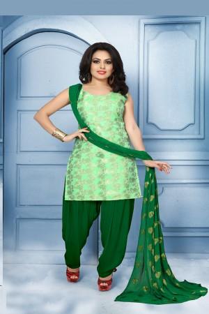 Blissful Light Green Pure Jequard Banarasi Silk Jacquard Banarasi Silk Dress Material