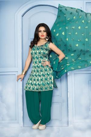 Charismatic RamaGreen Pure Jequard Banarasi Silk Jacquard Banarasi Silk Dress Material