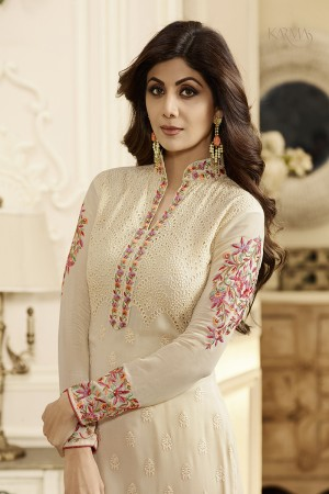 Shilpa Shetty Cream Georgette Schiffli Embroidery Work with Printed Dupatta Semi Stitch Salwar Kameez