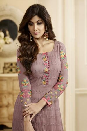 Shilpa Shetty Light Purple Georgette Schiffli Embroidery Work with Printed Dupatta Semi Stitch Salwar Kameez