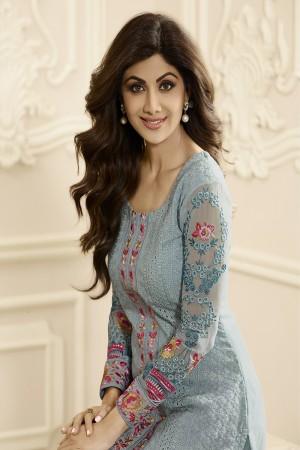 Shilpa Shetty Pastal Blue Georgette Schiffli Embroidery Work with Printed Dupatta Semi Stitch Salwar Kameez