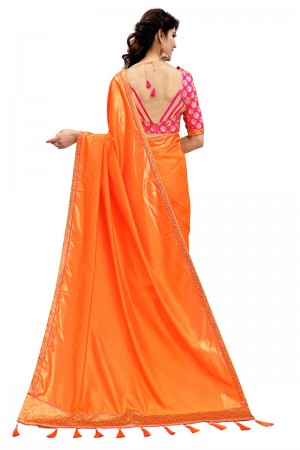 Impressive Orange Two Tone Silk Saree with Embroidered Blouse