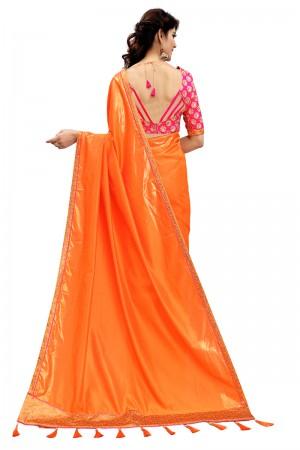 Impressive Orange Two Tone Silk Saree with Embroidered Blouse