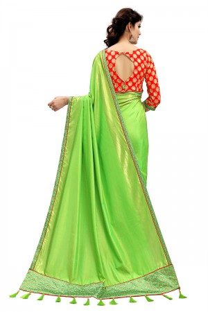 Stylish Parrot Green Two Tone Silk Saree with Embroidered Blouse