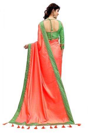 Bewitching Salmon Two Tone Silk Saree with Jacquard Blouse