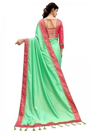 Beautiful Light Green Two Tone Silk Saree with Jacquard Blouse