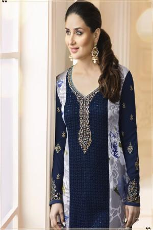 Kareena Kapoor Blue Georgette Heavy Embroidery Schiffli Work  Salwar Kameez