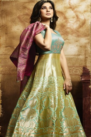 Jennifer Winget Pink & Golden Green Banarasi Silk Beads Broder and Banarasi Jacquard Koti Salwar Kameez