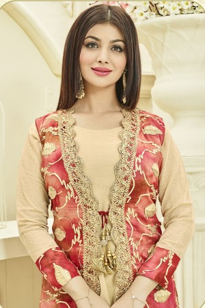Ayesha Takia Chiku Chinon Viscose & Jam Silk Heavy Ribin Work with Lace Border Salwar Kameez