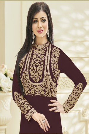 Ayesha Takia Brown Georgette Heavy Embroidery work on Neck and Sleeve Salwar Kameez