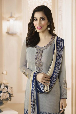 Sophie Choudry Grey Creap Heavy Embroiery On Neck and Sleeve with Lace Border Salwar Kameez