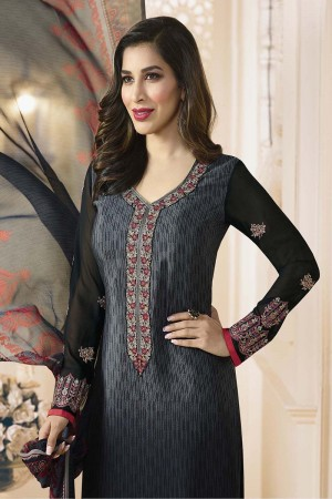 Sophie Choudry Black Creap Heavy Embroiery On Neck and Sleeve with Lace Border Salwar Kameez