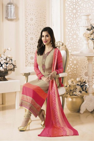 Sophie Choudry Beige Creap Heavy Embroiery On Neck and Sleeve with Lace Border Salwar Kameez