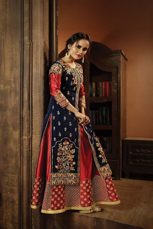 Ravishing Blue Silk Satin & Velvet Heavy Embroidery Zari and Thread Work on Top and Sleeve Salwar Kameez