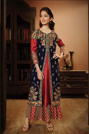 Desirable Blue Silk Satin & Velvet Heavy Embroidery Zari and Thread Work on Top and Sleeve Salwar Kameez
