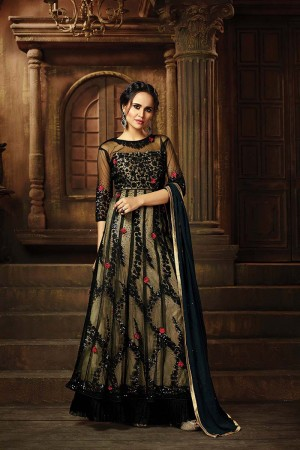 Dreamy Balck&LightYellow Net Heavy Embroidery Thread and Sequance Work with Diamond Work Salwar Kameez