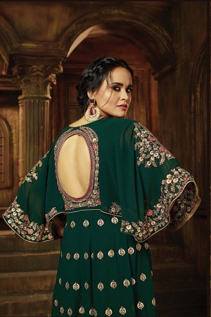 Divine Dark Green Georgette Heavy Embroidery Zari Work on Neck and Sleeve with Butti Work Salwar Kameez
