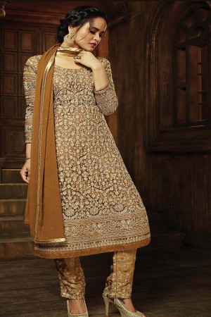 Classic Golden Net Heavy Embroidery Thread and Sequance and Coading Work with Diamond Work Salwar Kameez
