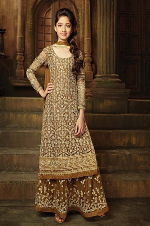 Alluring Golden Net Heavy Embroidery Thread and Sequance and Coading Work with Diamond Work Salwar Kameez