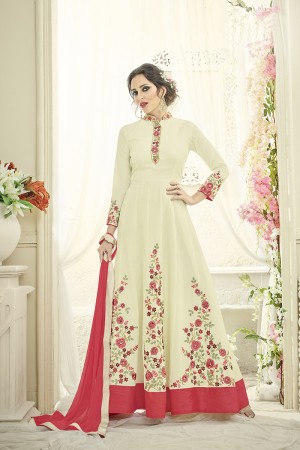 Graceful Offwhite Tafetta Silk Heavy Thread Embroidery on Sleeve with Kali Work on Top Full Stitch with Size - XL
