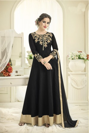 Bewitching Black Tafetta Silk Heavy Embroiery Thread Work on Top and Sleeve with Diamond Work Full Stitch with Size - XL