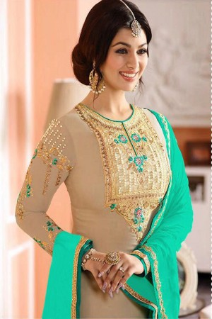 Ayesh Takia Beige Georgette Heavy Embroiery On Top and Sleeve with Lace Border Salwar Kameez