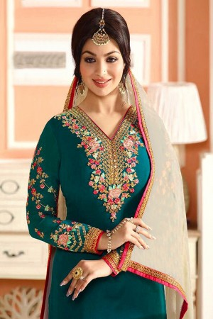 Ayesh Takia Marine Blue Georgette Heavy Embroiery On Top and Sleeve with Lace Border Salwar Kameez