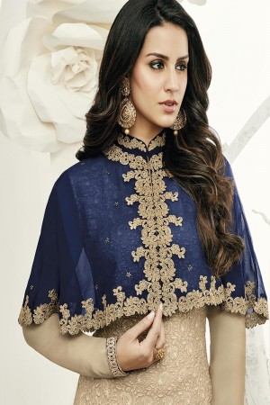 Creative Beige Georgette Heavy Embroiery Schiffli Work on Top with Embroidery Cap Salwar Kameez