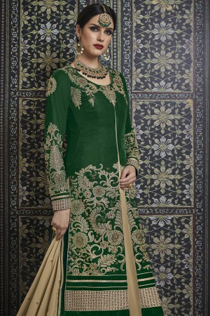 Exquisite Green Velvet Heavy Embroidery Coding Work with Diamond Work Salwar Kameez