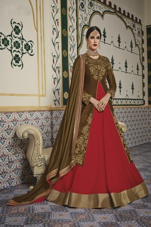 Creative Brown  Velvet Heavy Embroidery On Neck and Sleeve with Lace Border Salwar Kameez