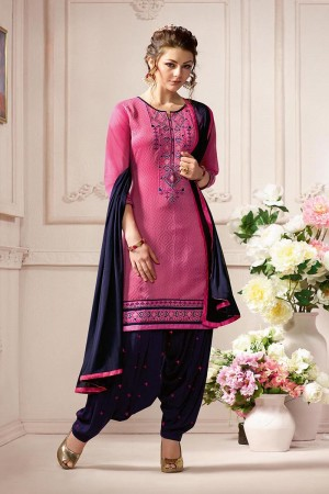 Dashing Pink Pure Chanderi Heavy Embroidery on Neck with Lace Border and Butti Work on Bottom Dress Material