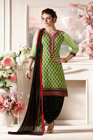 Breezy Green Pure Chanderi Heavy Embroidery on Neck with Lace Border and Butti Work on Bottom Dress Material