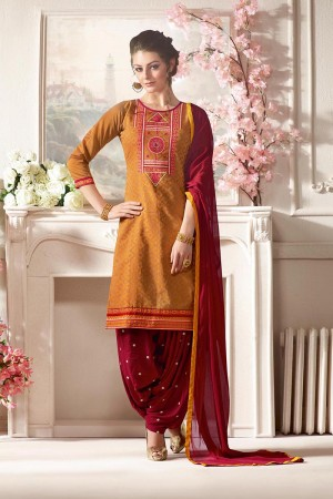 Trendy Mustard Pure Chanderi Heavy Embroidery on Neck with Lace Border and Butti Work on Bottom Dress Material