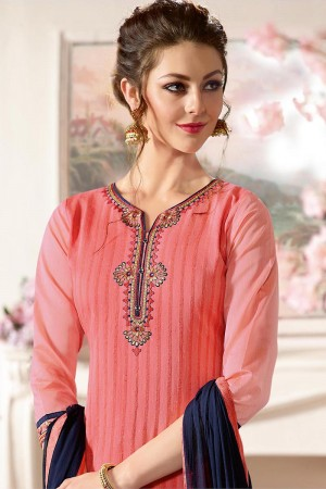Charming Peach Pure Chanderi Heavy Embroidery on Neck with Lace Border and Butti Work on Bottom Dress Material