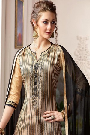 Dazzling Chiku Pure Chanderi Heavy Embroidery on Neck with Lace Border and Butti Work on Bottom Dress Material